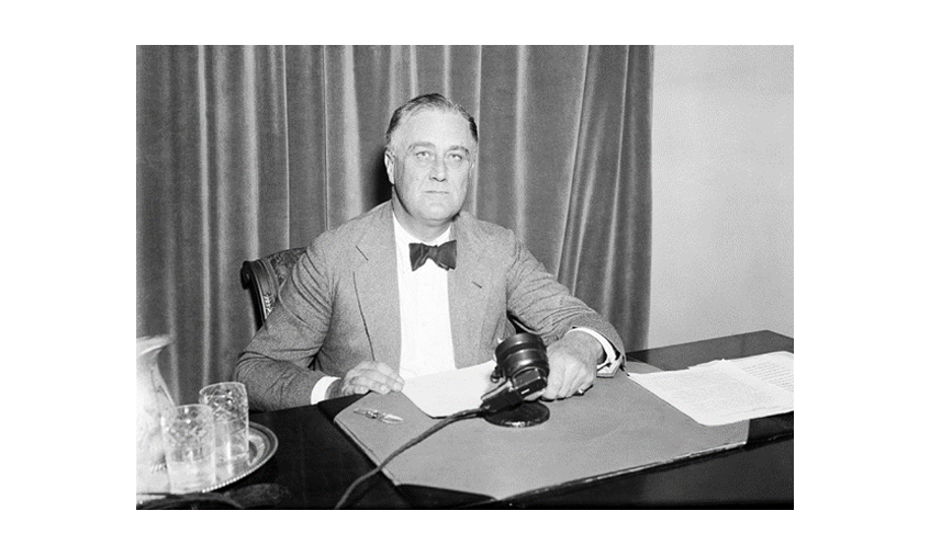 "Franklin D. Roosevelt during one of his ""fireside chats"" in1934"