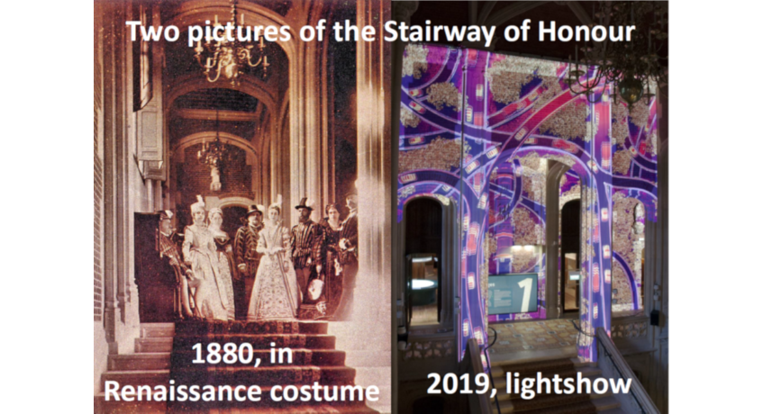 Picture 2: The Stairway of Honour in 1880 and in 2019